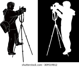 illustration with photographers isolated on white and black background