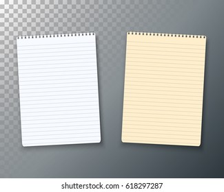 Illustration of Photorealistic Paper Notebook Template. Vector Notepad Set Isolated on Transparent Background. Used as Office Equipment, School Supply