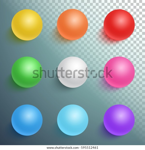 Illustration of Photorealistic Vector Ball Set Template Isolated on Transparent Background. Bright Colors Vector Sphere