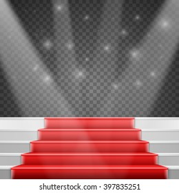 Illustration of Photorealistic Vector Stairs Podium with Red Carpet and Bright Luxury Event Background Isolated on Transparent PS Style Background