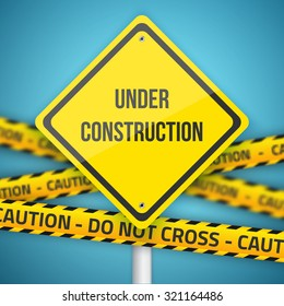 Illustration of Photorealistic Website Under Construction Vector Sign with Police Do Not Cross Caution Line