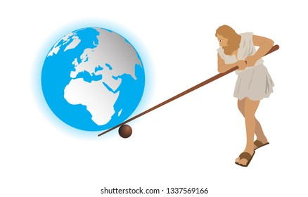 illustration of physics, Man use wooden levers to move the world