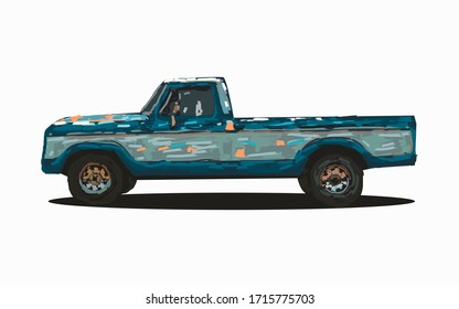 illustration of a pickup truck vehicle. suitable for posters, banners, art and others