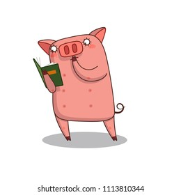 Illustration of a pig holding a bookclub sign