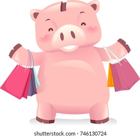 Illustration of a Piggy Bank Robot Carrying Shopping Bags