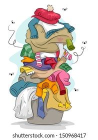Illustration of a Pile of Dirty and Stinky Laundry with Flies Flying Around