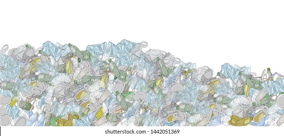 Illustration of pile garbage waste plastic and paper in mountain shape isolated white background, bottles plastic garbage waste many, stack of plastic bottle paper cup waste dump, pollution garbage