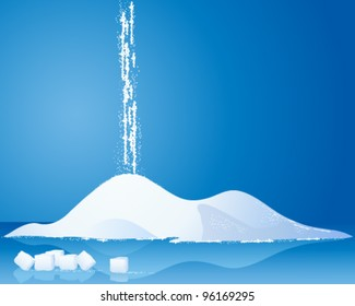 an illustration of a pile of white sugar with sugar cubes and reflections on a blue background