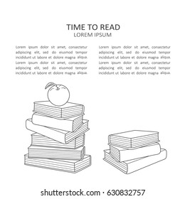 Illustration with piles of books and text, hand drawn backdrop vector. Collection of books, black and white background design. Stack of books. Time to read, poster design