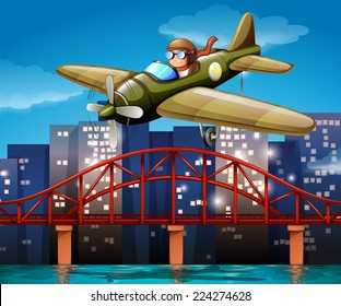 Illustration of a pilot flying an airplane