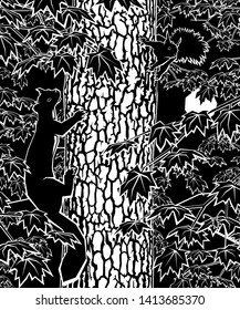 Illustration of a pine marten chasing a red squirrel around a tree trunk