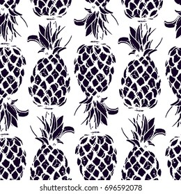 Illustration of Pineapple fruit in seamless pattern in black and white colors Vector