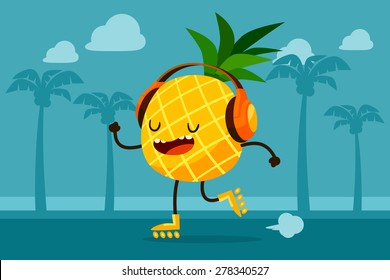Illustration of pineapple on roller skates listen to music at the beach