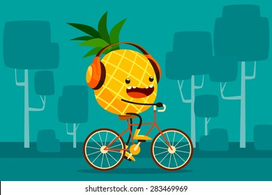 Illustration of pineapple riding bicycle in the park listen to music