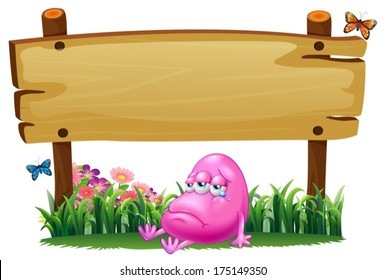 Illustration of a pink beanie monster under the empty wooden signboard on a white background