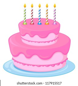 Illustration Of A Pink Birthday Cake On White Background