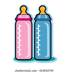 Illustration of pink and blue baby bottles