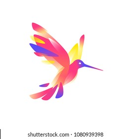Illustration of a pink colibri. Vector illustration. Image is isolated on white background. Bird of hummingbirds. Logo for the company, studio. Talisman, emblem. A modern bird image.