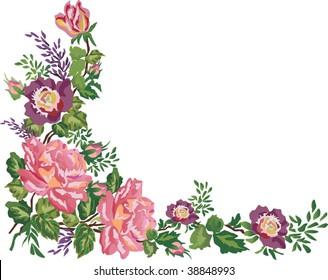 illustration with pink floral frame decoration on white background