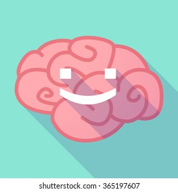 Illustration of a pink long shadow brain with a smile text face