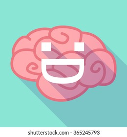 Illustration of a pink long shadow brain with a laughing text face