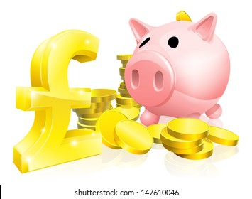 Illustration of a pink piggy bank with lots of gold coins and a big pound sign or symbol