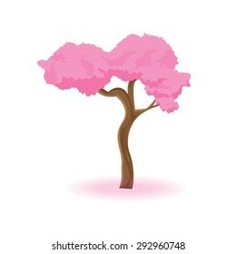 illustration. pink tree on white background.