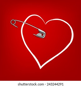 The illustration of a pinned red hearts. Vector image.