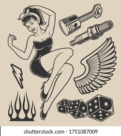 Illustration of pin-up girl with elements for design on the white background