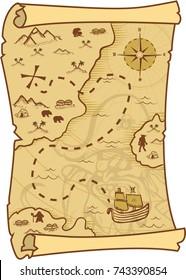 Treasure Map Cartoon Stock Illustrations, Images & Vectors ... on