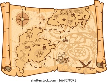 Illustration of a pirate map concept/ Editable EPS10