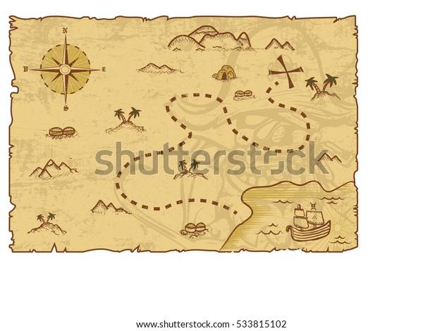 Иллюстрация концепции пиратской карты/Editable Eps10.