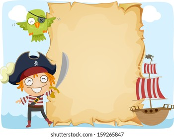 Illustration of a Pirate Standing Beside an Unrolled Scroll