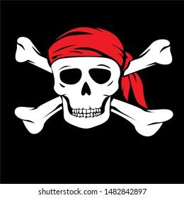 illustration of Pirate, sticker,tshirt print, vector illustration