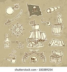 Illustration of pirates set