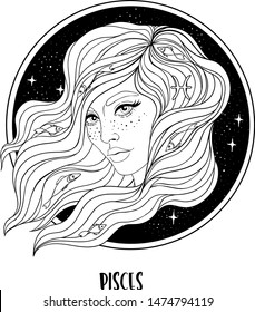Illustration of Pisces astrological sign as a beautiful girl. Zodiac vector drawing isolated in black and white. Future telling, horoscope, alchemy, spirituality. Coloring book for adults.