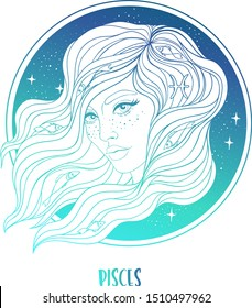 Illustration of Pisces astrological sign as a beautiful girl. Zodiac vector illustration isolated on white. Future telling, horoscope, alchemy, spirituality, occultism, fashion woman.