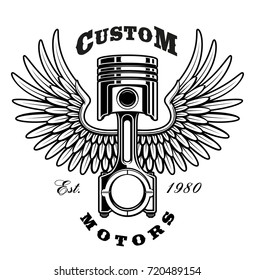 Illustration of piston with wings. Vintage style. Text is on the separate layer. (VERSION ON WHITE BACKGROUND)