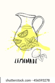 Illustration of a pitcher of fresh lemonade with lemon and mint