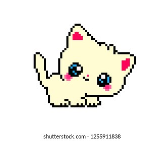 illustration pixel art of  cat in pixel style