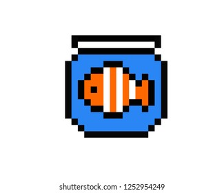 illustration pixel art of fish  in pixel style
