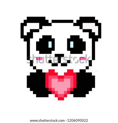 Illustration Pixel Art Panda Pixel Style Stock Vector Royalty Free