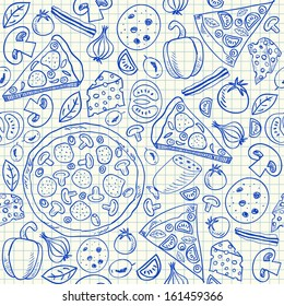 Illustration of pizza doodles, seamless pattern on squared paper. pizza sketch. vector food draw. seamless cheese pizza drawing. tasty pizza with tomato, salami, cheese, olive and bacon.
