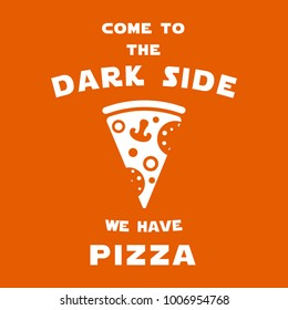 Illustration with pizza slice and text