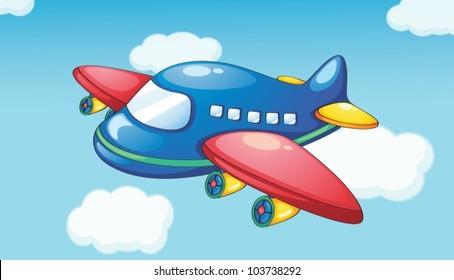 Illustration of a plane in blue sky