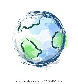 Illustration of planet earth with watercolor splashes and ink strokes on white background. The object is separate from the background. Vector element for your creativity