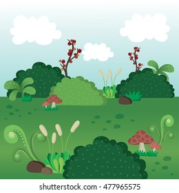 Illustration of plant field vector. Spring landscape with grass, bush,mushroom, branch and stone.