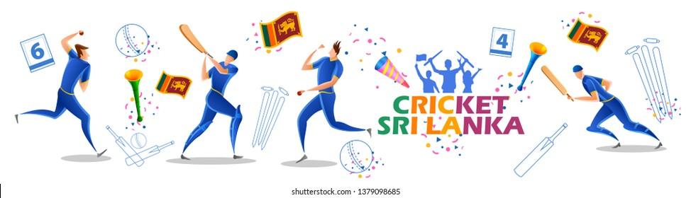 illustration of Player batsman and bowler of Team Sri Lanka playing cricket championship sports