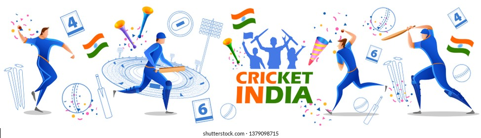 illustration of Player batsman and bowler of Team India playing cricket championship sports