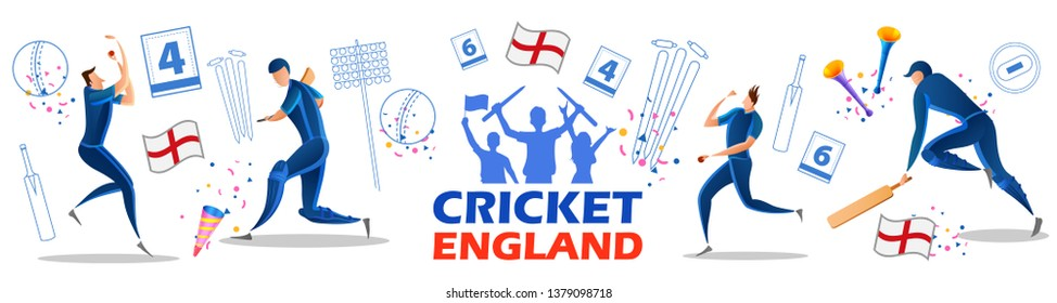 illustration of Player batsman and bowler of Team England playing cricket championship sports